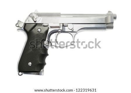 Modern handgun M9 close-up. Isolated on a white background. - stock photo