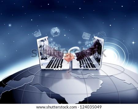 Modern Handshake - stock photo