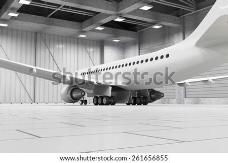 Modern Hangar 3D Interior with Modern Airplane Inside. Passenger Airplane of My Own Design. 3D Rendering - stock photo