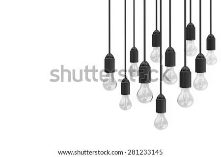 Modern Hanging Light Bulbs isolated on white background with place for Your Text - stock photo