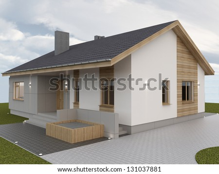 Modern hause.Computer visuaization. - stock photo