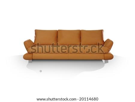 Modern hazel sofa in front on white floor - stock photo