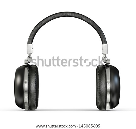 modern headphones isolated on a white background - stock photo