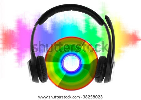 modern headphones on compact disc - stock photo