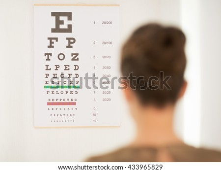 Modern health care. Seen from behind woman testing vision with Snellen chart - stock photo