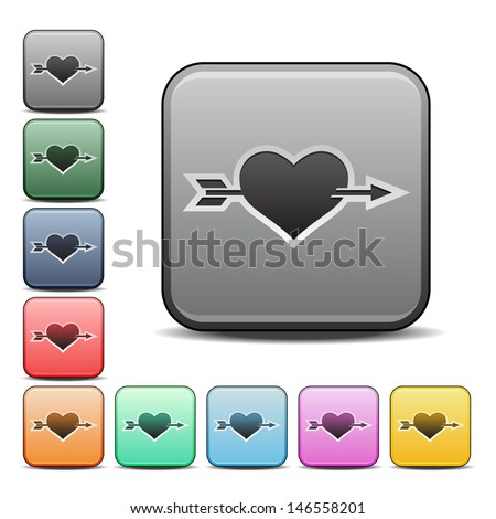 Modern Heart with Arrow Icon with Color Variations.  Raster version, vector also available. - stock photo