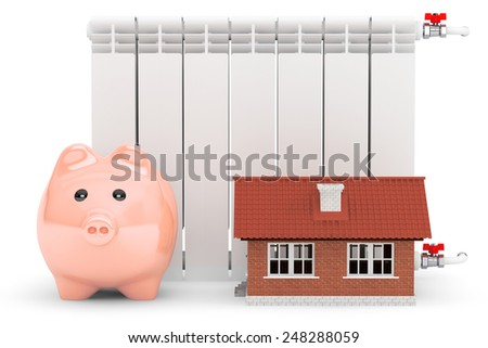 Modern Heating Radiator with Piggy Bank and house on a white background