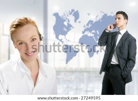 Modern helpdesk office with beautiful woman and handsome businessman [Photo Illustration]