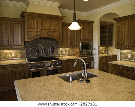 Modern high end kitchen and pantry - stock photo