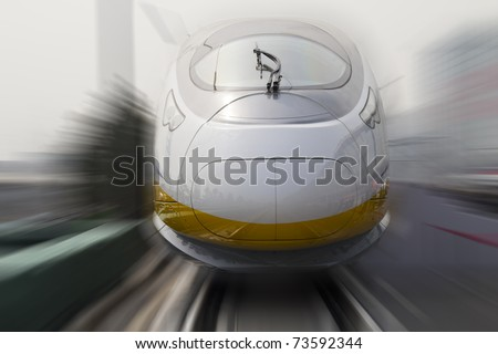 Modern high speed bullet train in China - stock photo