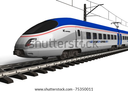 Modern high speed train isolated on white - stock photo