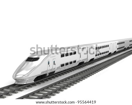 Modern high speed train on white background - stock photo