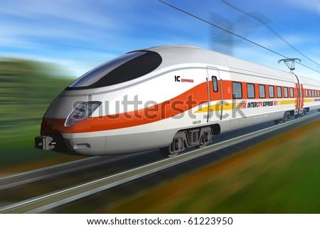 Modern high speed train - Original design - stock photo