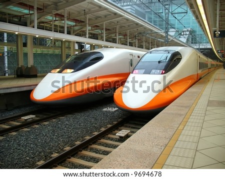Modern High Speed Train -- two engines of the recently finished Taiwan high speed railway - stock photo
