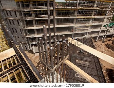 Modern high-tech factory formwork construction site  - stock photo
