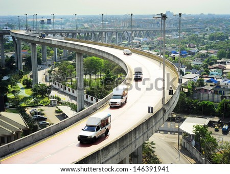 Modern highway in Bangkok, Thailand. Aerial view - stock photo