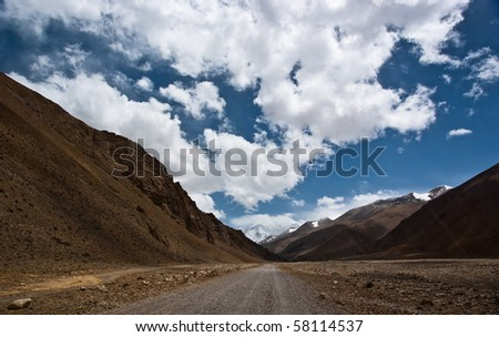 Modern highway to the summit of earth - mount himalaya - stock photo