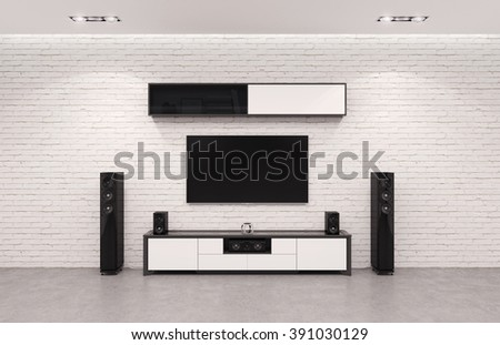 Modern Home Cinema System. 3d Illustration. - stock photo
