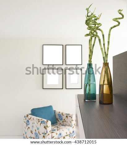 modern home colorful vase and flowers - stock photo