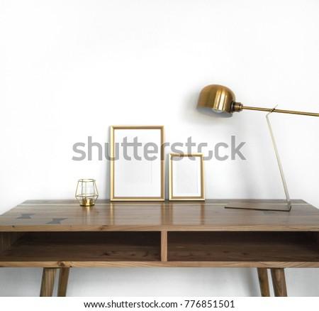 Modern Home Decor Mockup Golden Frames Stock Photo (Royalty Free ...
