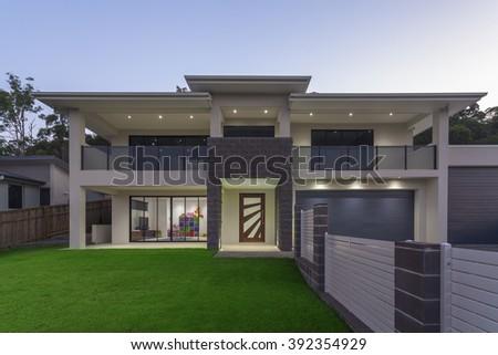 modern home exterior at dusk - Modern Home Exterior