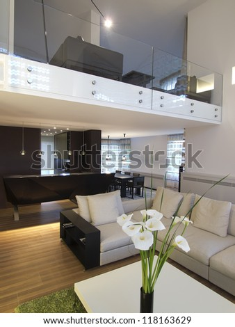 Modern home gallery interior and living room - stock photo