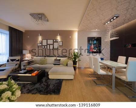 modern home interior - stock photo