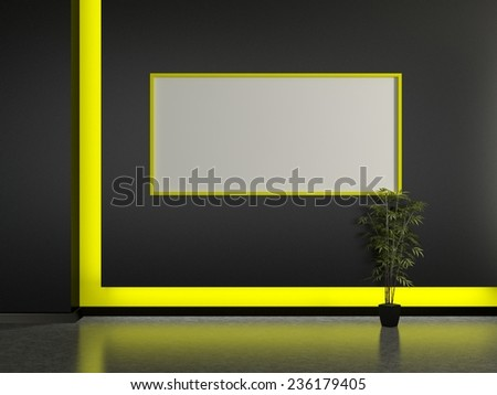 Modern home interior and frame on the black wall. 3D - stock photo