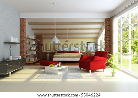 modern home interior.3d render.I am the author of image which out of the window