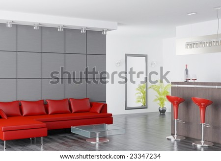 modern home interior (3d rendering) - stock photo