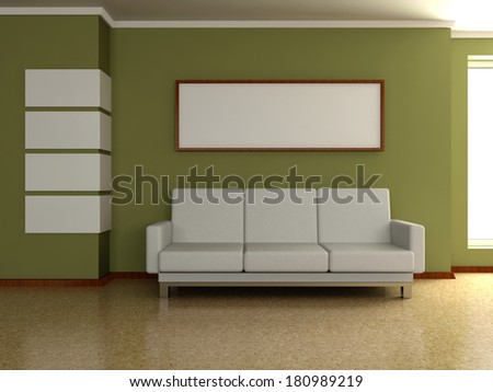 Modern home interior 3d. Sofa near the wall with the painting and window. - stock photo