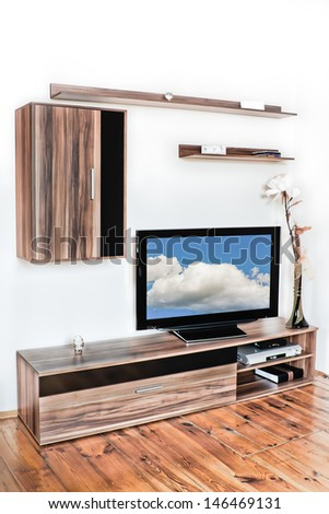 modern home interior furniture in living room - stock photo