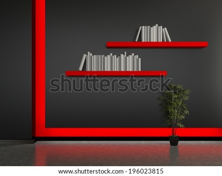 Modern home interior with a book shelves. 3D. - stock photo
