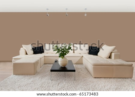 Modern home interior with free wall space - stock photo