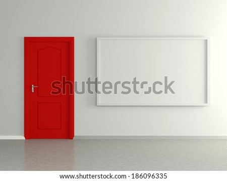 Modern home interior with picture frame the wall and red door. 3D. - stock photo