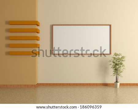 Modern home interior with the beige wall, pot plant and frame. 3D.