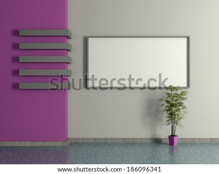 Modern home interior with the violet magenta wall, pot plant and frame. 3D. - stock photo