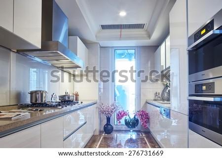 modern home kitchen interior - stock photo