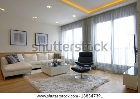 Modern home living room - stock photo