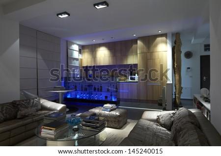 Modern home living room stock photo