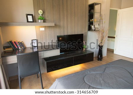 Modern home office and desk in rooms, work space in modern room, Working corner in home. - stock photo