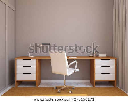 Modern home office interior. 3d render - stock photo