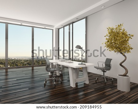 Modern home office interior design with two office chairs on either side of a white desk in front of floor-to-ceiling view windows overlooking a city with a decorative potted tree - stock photo