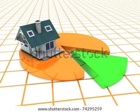 modern home on pie chart - stock photo