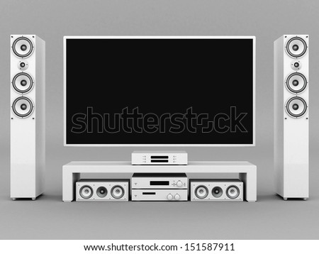 modern home theater on a gray background