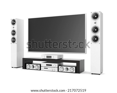 modern home theater on a white background - stock photo