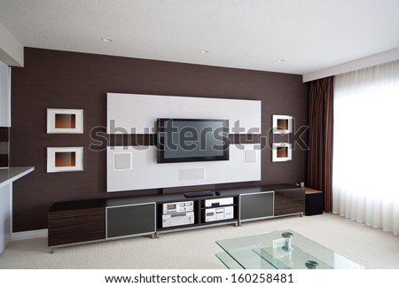 Modern Home Theater Room Interior with Flat Screen TV - stock photo