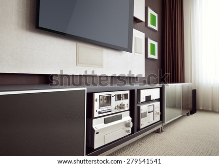 Modern Home Theater Room Interior with Flat Screen TV angled perspective view - stock photo