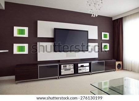 Modern Home Theater Room Interior with Flat Screen TV angled perspective view, modern contemporary apartment with TV