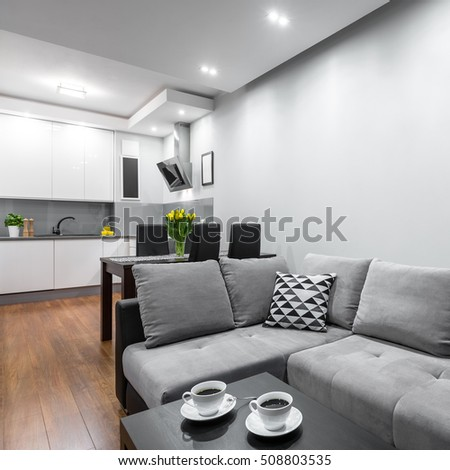 Modern home with sofa, coffee table, dining set and open kitchen